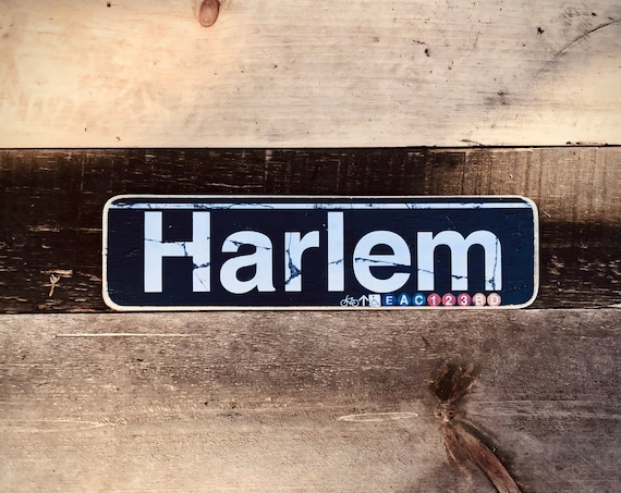 Harlem Manhattan New York City Neighborhood Hand Crafted Horizontal Wood Sign - 4x15 in.