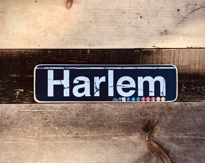 Harlem Manhattan New York City Neighborhood Hand Crafted Horizontal Wood Sign - 4x15 in. ny gift