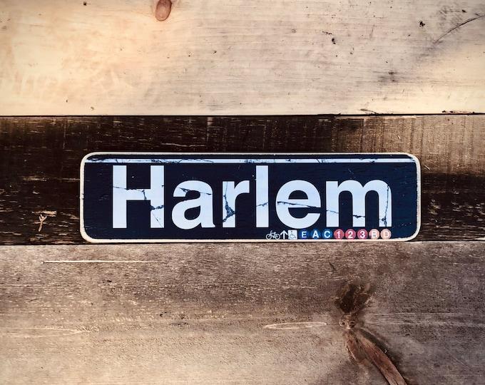 Harlem Manhattan New York City Neighborhood Hand Crafted Horizontal Wood Sign - 4x15 in.