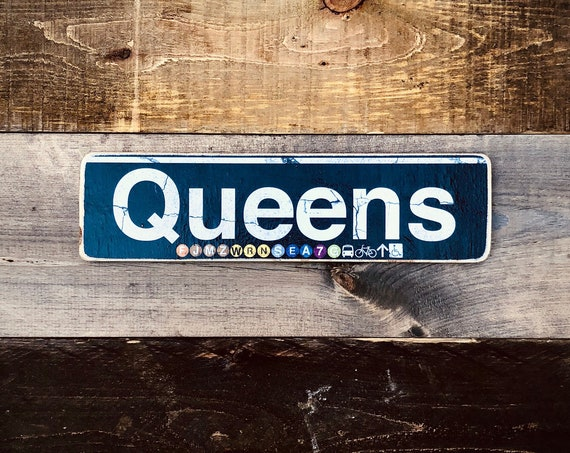 Queens Neighborhood Hand Crafted Horizontal Wood Sign. 4X15in.
