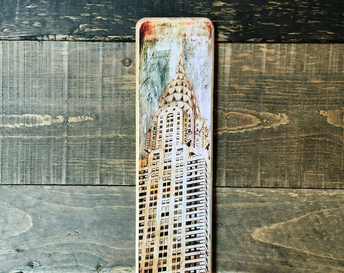 Chrysler Building Manhattan New York City Original Vertical Landscape Photography Hand Crafted on Wood -  ny gift