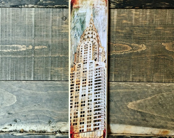 Chrysler Building Manhattan New York City Original Vertical Landscape Photography Hand Crafted on Wood - 4X15inches