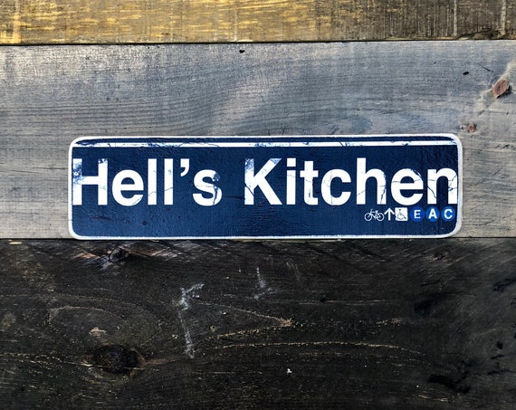 Hells Kitchen Manhattan New York City Neighborhood Hand Crafted Horizontal Wood Sign - 4x15 in.