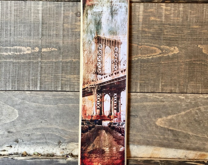 Manhattan Bridge Dumbo Brooklyn New York City Original Vertical Landscape Photography Hand Crafted on Wood - 4X15inches