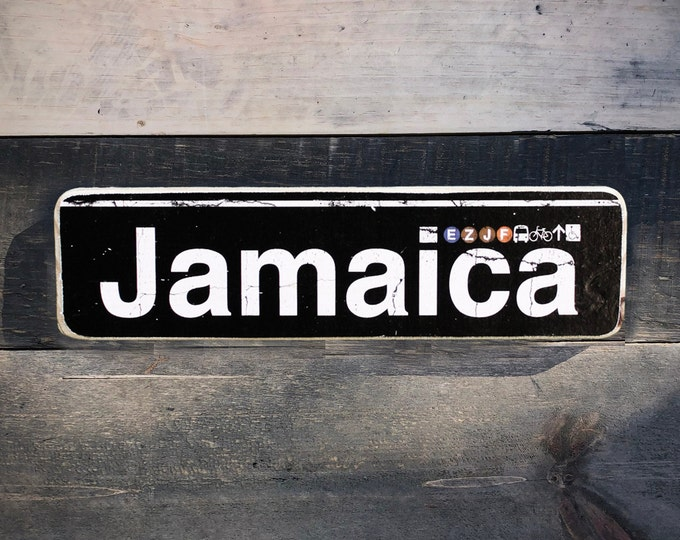 Jamaica,Queens Neighborhood Hand Crafted Horizontal Wood Sign - Subway sign, NY Decor, NYC Art, Subway Art, NYC Sign