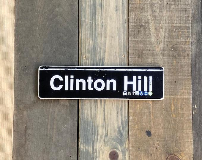 Clinton Hill Brooklyn New York City Neighborhood Hand Crafted Horizontal original Wood Subway Sign - Subway sign, NYC Art, Ny Gift, NYC Sign