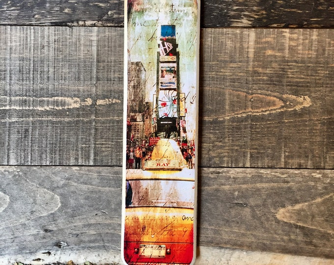 Times Square taxi Manhattan New York City Original Vertical Landscape Photography Hand Crafted on Wood - 4X15inches