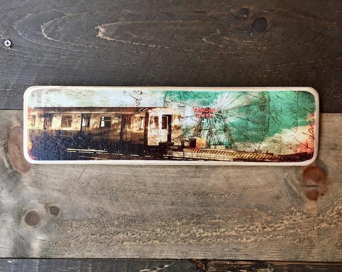 Subway Wonder Wheel Coney Island Brooklyn New York City Original Horizontal Landscape Photography Hand Crafted on Wood - 4X15inches