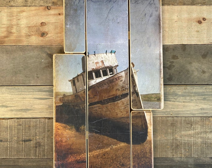 Point Reyes Boat, California, Original vertical Landscape Photography Hand Crafted on Wood - 38x20inches
