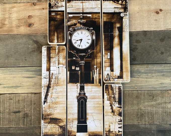Lackawanna Clock, Hoboken, New Jersey Original  vertical  Photography Hand Crafted on Wood - 20 x 38 inches ny gift