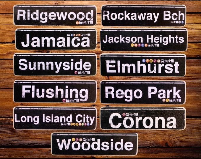 Queens deep Neighborhood Hand Crafted Horizontal Wood Sign - - Subway sign, NY Decor, NYC Art, Subway Art, NYC Sign, Queens signs.