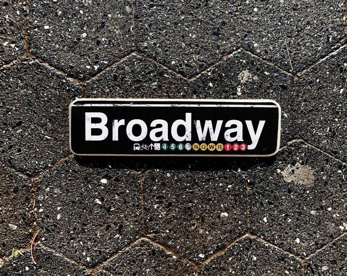 Broadway Manhattan New York City Neighborhood Hand Crafted Horizontal Wood Sign - Subway sign, NY Decor, NYC Art, Subway Art, NYC Sign.