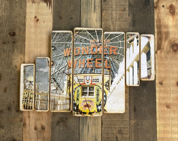 Wonder Wheel, Coney Island,Brooklyn,Original Horizontal Landscape Photography Hand Crafted on Wood - 38x24inches ny gift