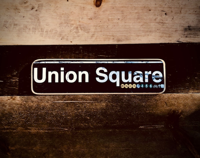 Union Square Manhattan New York City Neighborhood Hand Crafted Horizontal Wood Sign - Subway sign, NY Decor, NYC Art, Subway Art, NYC Sign.