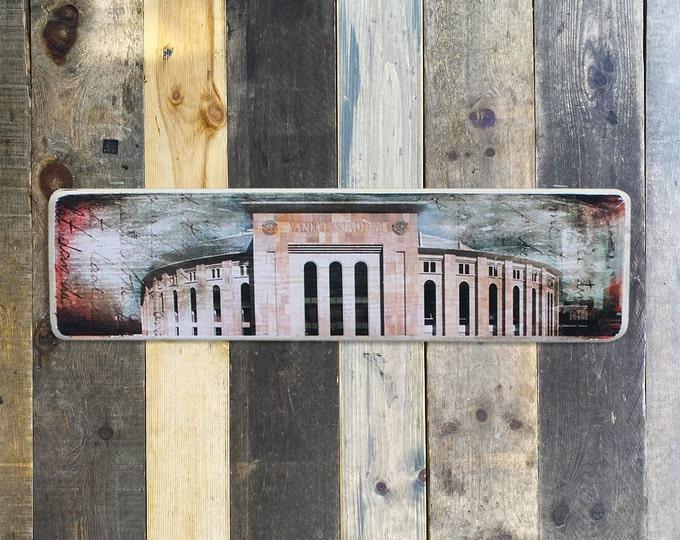 Yankee Stadium New York City Original Horizontal Landscape Photography Hand Crafted on Wood - 4X15inches