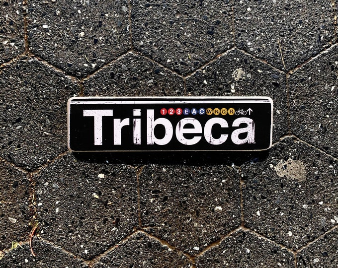 Tribeca, Manhattan New York City Neighborhood Hand Crafted Horizontal Wood Sign - Subway sign, NY Decor, NYC Art, Subway Art, NYC Sign.
