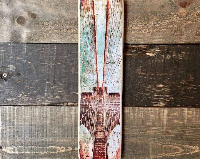 Vertical Transfer of Brooklyn Bridge Abstract Landscape Original Photography NYC // Art // Hand Crafted // Made on Wood // 4x15in.