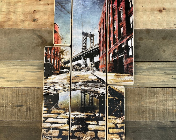 Manhattan bridge, dumbo, Brooklyn,Original vertical Landscape Photography Hand Crafted on Wood - 38x20inches ny gift