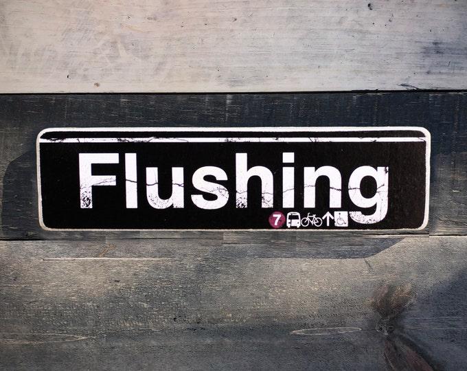 Flushing, Queens Neighborhood Hand Crafted Horizontal Wood Sign - Subway sign, NY Decor, NYC Art, Subway Art, NYC Sign