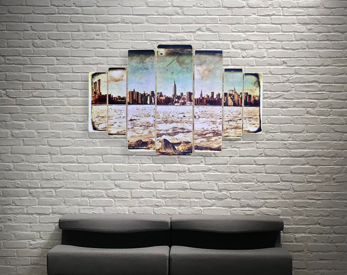 Iced East River Manhattan Winter Skyline  New York City Original Horizontal Landscape Photography Hand Crafted on Wood - 38x24inches