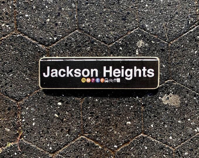 Jackson Heights Queens Neighborhood Hand Crafted Horizontal Wood Sign - Subway sign, NY Decor, NYC Art, Subway Art, NYC Sign.