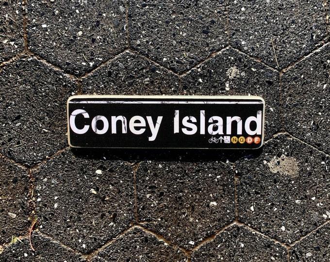 Coney Island Brooklyn Neighborhood Hand Crafted Horizontal Wood Sign - Subway sign, NY Decor, NYC Art, Subway Art, NYC Sign.