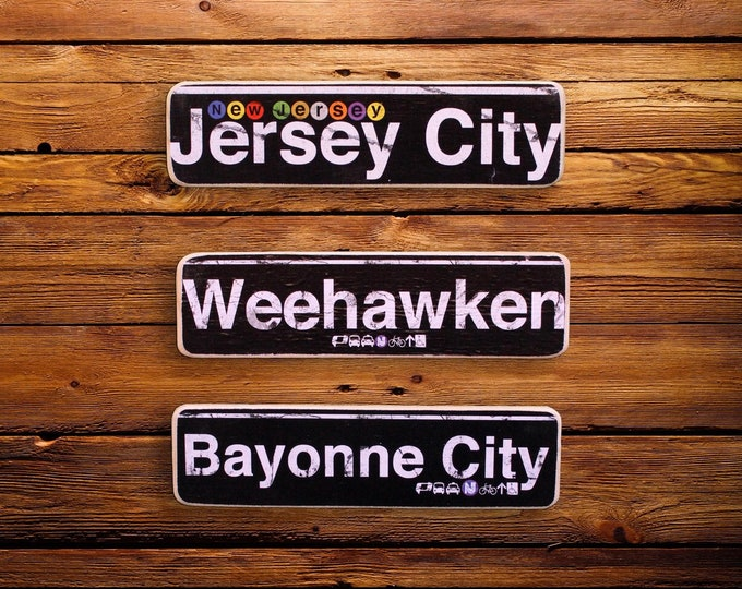 New Jersey // Jersey City // Weehawken // Bayonne City Neighborhood Hand Crafted Horizontal Wood Sign - 4x15 in.