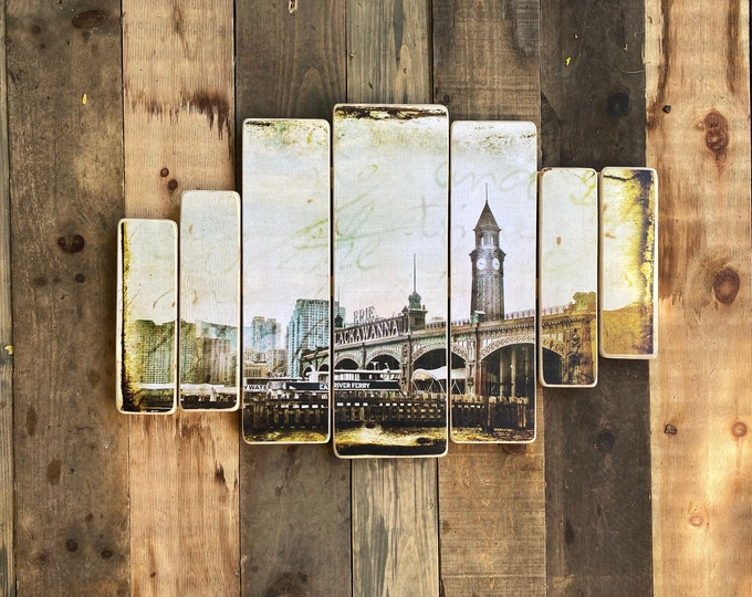 Lackawanna ferry, Hoboken, New Jersey,Original Horizontal Landscape Photography Hand Crafted on Wood - 38x24inches ny gift