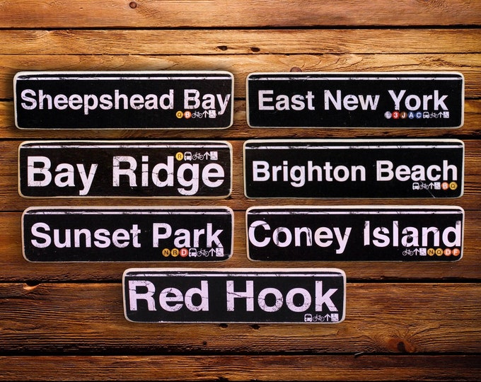 South Brooklyn Neighborhood Hand Crafted Wood Signs - Sheephead Bay, East NY, Bay Ridge, Brighton bch, Sunset Park, Coney Island, Red Hook