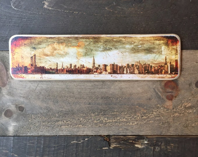 Winter Manhattan Skyline New York City Original Horizontal Landscape Photography Hand Crafted on Wood - 4X15inches
