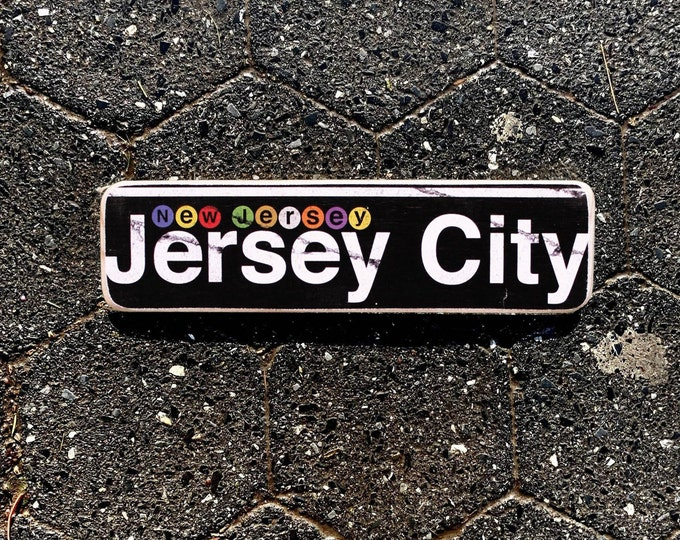 Jersey City- New Jersey Neighborhood Hand Crafted Horizontal Wood Sign - 4x15 in. ny gift