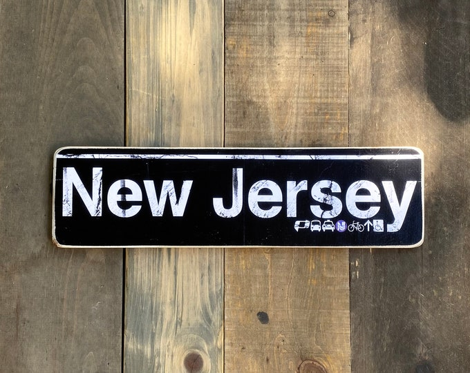 New Jersey 6x22 Hand Crafted Horizontal Original Wood Sign - Subway sign, NJ Decor, New jersey Art, NJ Gift, New jersey Sign
