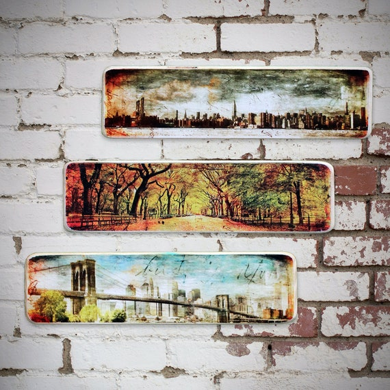 New York City original Photography set of 3 Horizontal pcs Hand Crafted on Wood // NYC skyline - The Mall ,Central Park - Brooklyn Bridge.
