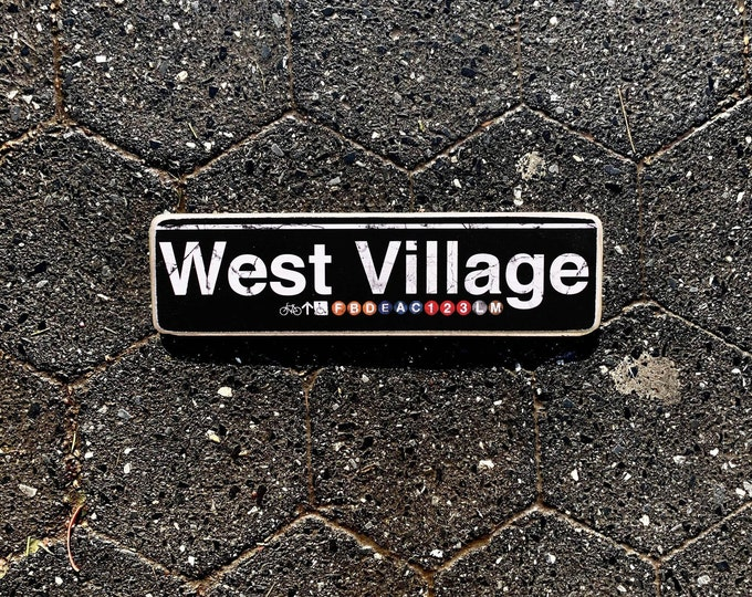 West Village Manhattan New York City Neighborhood Hand Crafted Horizontal Wood Sign - Subway sign, NY Decor, NYC Art, Subway Art, NYC Sign.