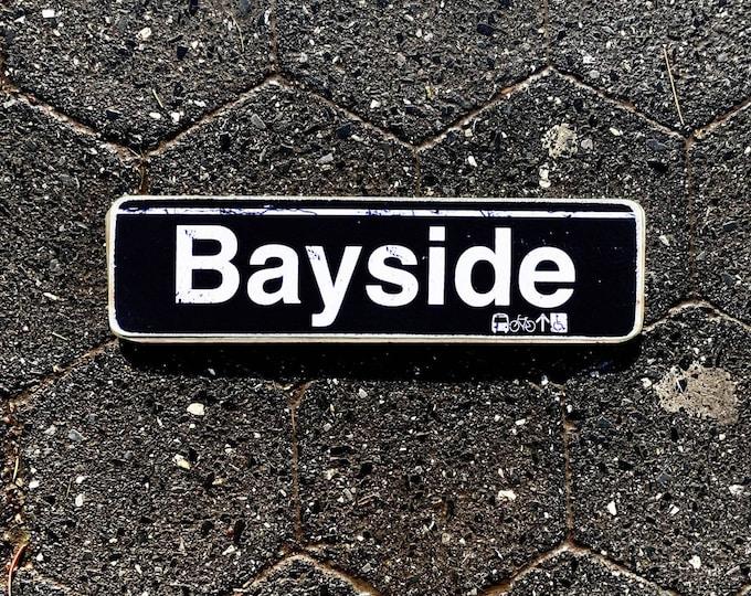 Bayside, Brooklyn New York City Neighborhood Hand Crafted Horizontal Wood Sign - Subway sign,  Decor, NYC Art, Subway Art, NYC Sign. ny gift