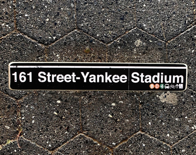 161 Yankee stadium - New York City The Bronx Neighborhood Hand Crafted Wood Sign - Subway sign, NY Decor, NYC Art, Ny Gift, NYC Sign.