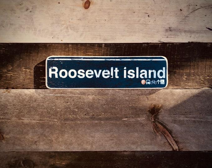 Roosevelt Island New York City Neighborhood Hand Crafted Horizontal Wood Sign - Subway sign, NY Decor, NYC Art, Subway Art, NY Sign