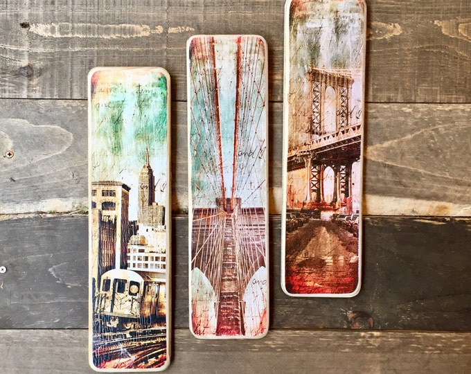 Set of 3 Pieces New York City Original Vertical Landscape Photography Hand Crafted on Wood - 4X15inches