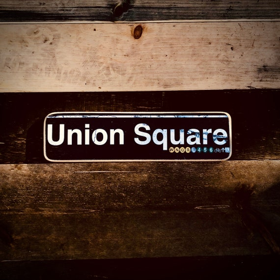 Union Square Manhattan New York City Neighborhood Hand Crafted Horizontal Wood Sign - 4x15 in.