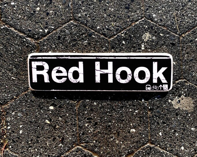 Red Hook Brooklyn New York City Neighborhood Hand Crafted Horizontal Wood Sign - Subway sign, NY Decor, NYC Art, Subway Art, NYC Sign