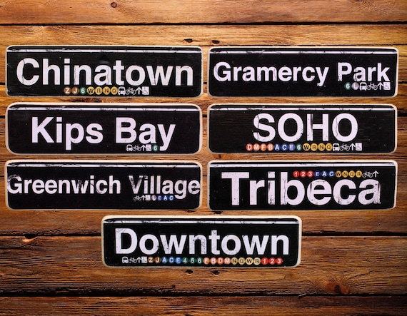 Lower Manhattan Neighborhoods Wood Signs