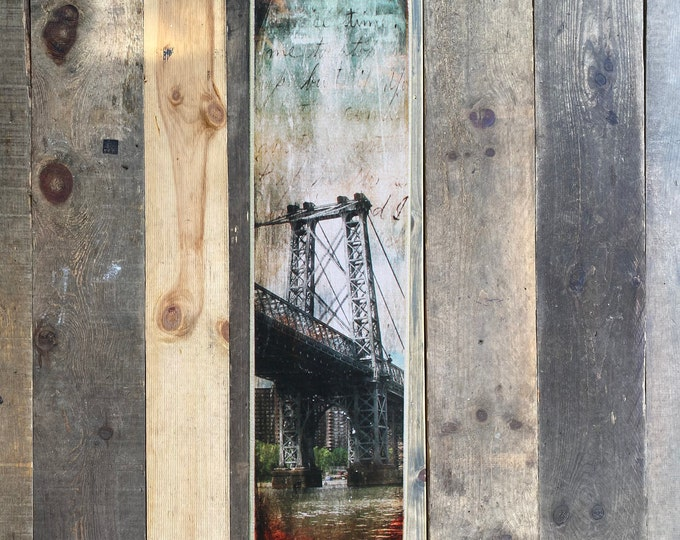 Vertical Transfer of Williamsburg bridge Original  Photography NYC // Art // Hand Crafted // Made on Wood // ny gift