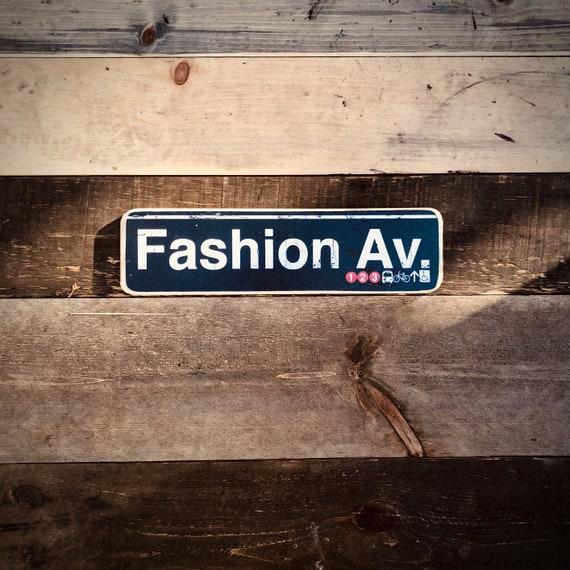 Fashion Av Manhattan New York City  Neighborhood Hand Crafted Horizontal  Wood Sign - 4x15 in.