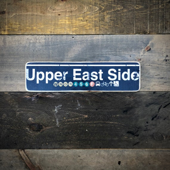 Upper East Side Manhattan New York City Neighborhood Hand Crafted Horizontal Wood Sign - 4x15 in.