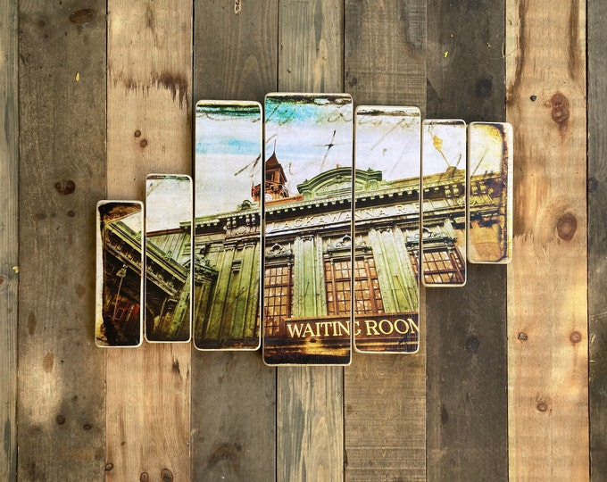 Lackawanna terminal, hoboken, New Jersey,Original Horizontal Landscape Photography Hand Crafted on Wood - 38x24inches ny gift