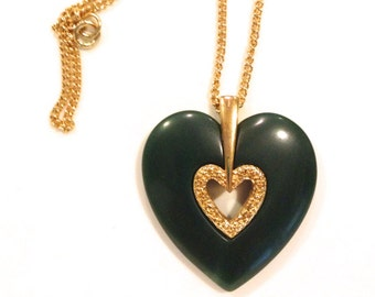 Vintage Heart necklace Lanvin-Like Jade Colored Heart Pendant