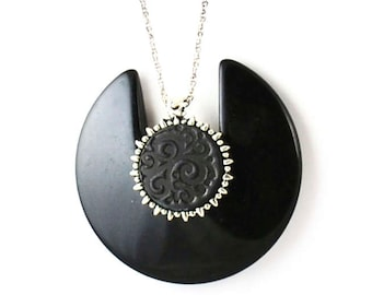 Vintage Lanvin-Like Necklace Repurposed Recycled Black Resin
