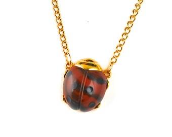 Ladybug Necklace Good Luck Vintage Small Marbled Brown Ladybug Pendant 1960s