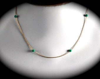 Dark Green Bead on Gold Filled Chain Vintage Choker Necklace Gift Vintage Delicate Beautiful Necklace