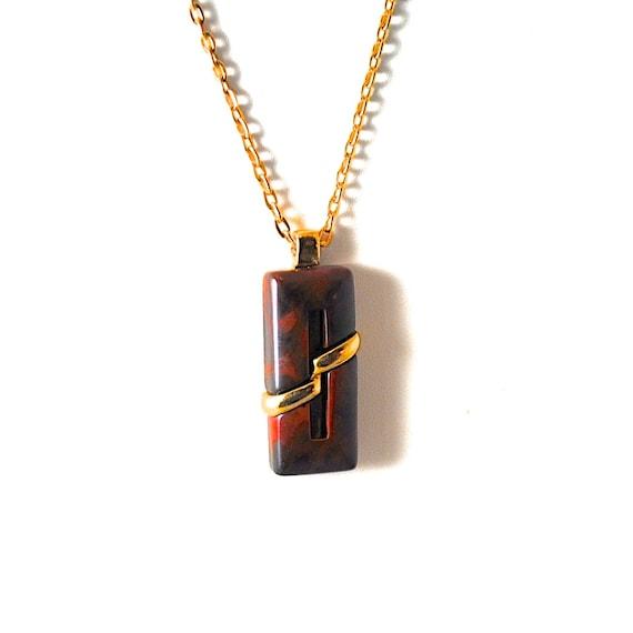 Vintage Necklace Brown Marbled Pendant 1960s